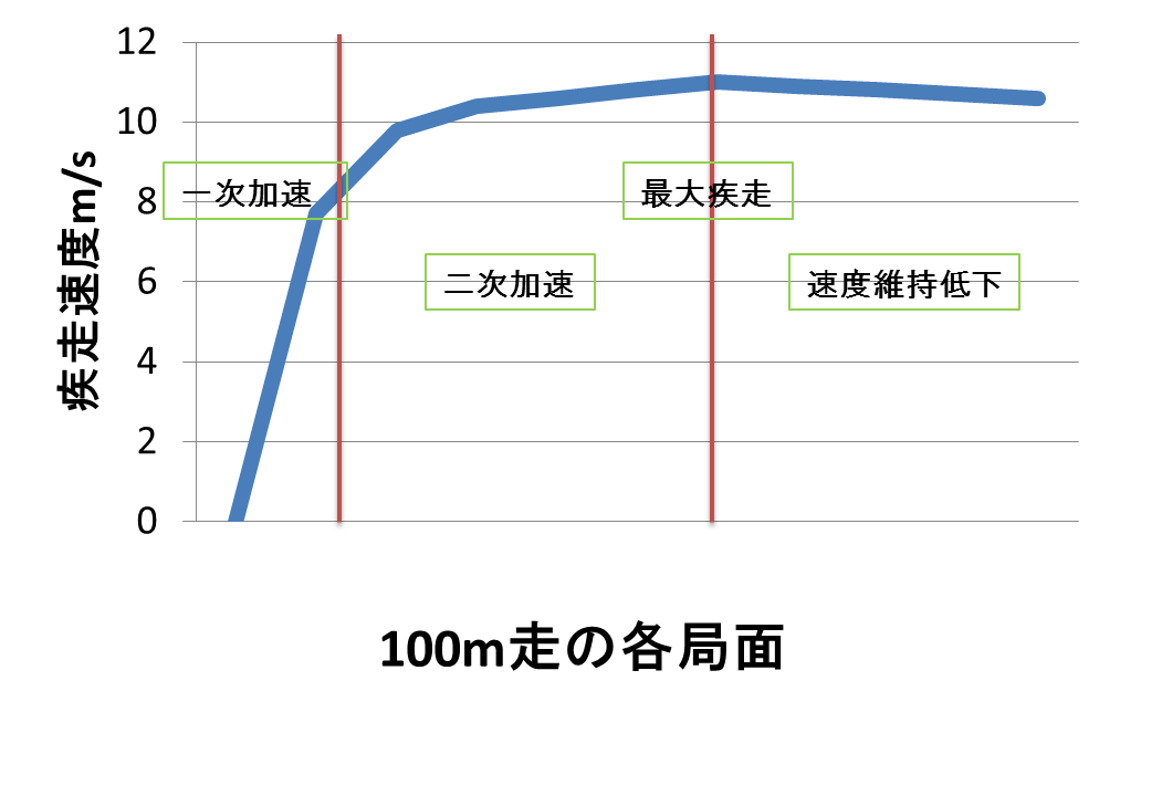 100m走のレースパターン